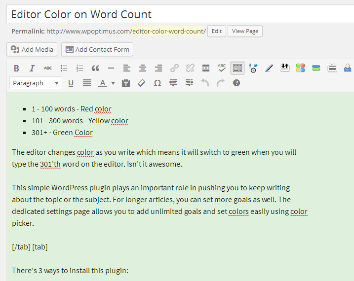 Editor showing Green color as crossed 300 words