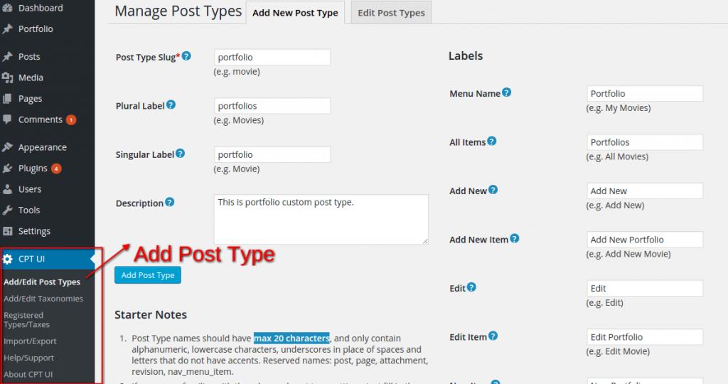 Custom Post Type UI plugin