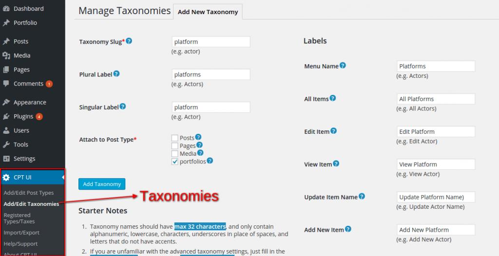 Custom Post Type UI plugin - taxonomy