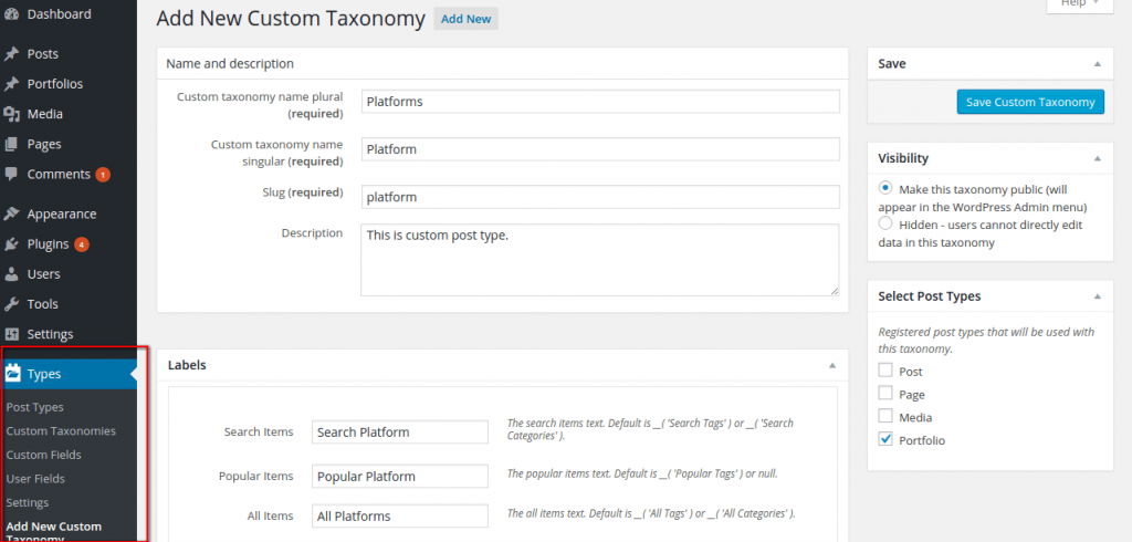 Types Plugin- Taxonomy