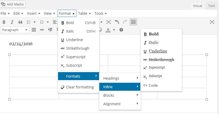 TinyMCE Editor - Format