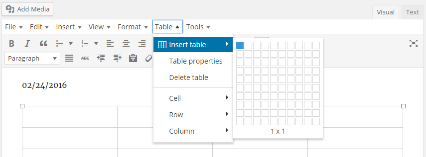 TinyMCE Editor - Table